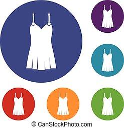 Nightdress icons set