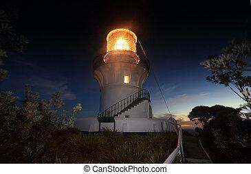 Nightfall at Sugarloaf Point Lighthouse - Nightfall and last...