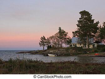 Nightfall at the shore of Lake Vanern, Sweden.