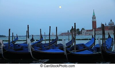 Nightfall in Venice	 - View over Venice, Italy, Europe.