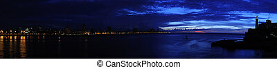 Nightfall on havana panorama