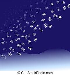 nightfall, snowflakes, sneeuwval