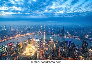 nightfall view of shanghai, a bird's eye view of a magical modern city