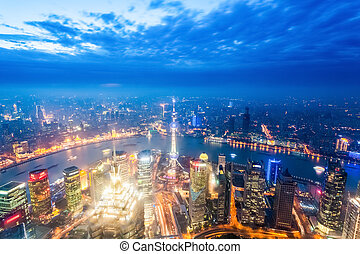 nightfall view of shanghai