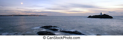 Nightime at Godrevey Lighthouse - Panoramic view of Godrevey...