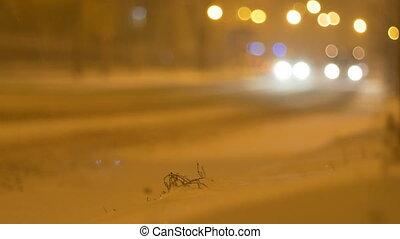 Nightime Snowing Street