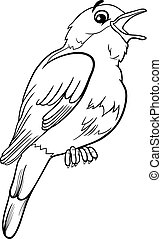 nightingale bird coloring page - Black and White Cartoon...