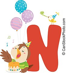 Nightingale Birthday Alphabet Illustration