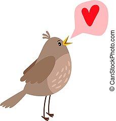 Nightingale cute bird icon