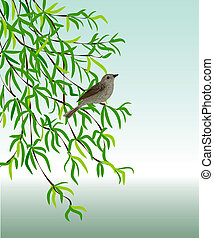 Nightingale on a branch - Vector illustration - a bird sits...