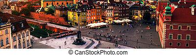 nightlife, 中に, ワルシャワ, ポーランド, 人々, ∥において∥, ∥, 宮殿の正方形