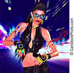 Nightlife girl posing on city street with motion blur and music speaker gloves
