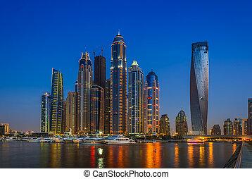 Nightlife in Dubai Marina. UAE. November 14, 2012 - DUBAI,...