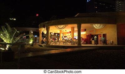 Nightlife in the Golden Sands resort. Varna. Bulgaria. 4K.