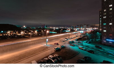 Nightlife traffic time lapse video.