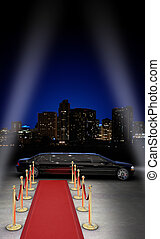 Nightlife VIP - limousine parked in front of a red carpet...