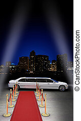 Nightlife VIP - limousine parked in front of a red carpet ...