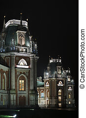 Nightlighting castle of State historical and architectural museum reserve Tsaritsyno, Russia. It was build in 1776.