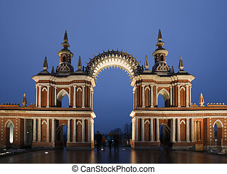 Nightlighting gate of State historical and architectural museum reserve Tsaritsyno, Russia. It was build in 1776.