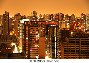 nightly, панорама, сантьяго, de, чили