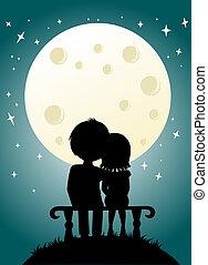 nightly, 恋人, 空, 若い, 月