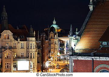 Nightly air view panorama of Katowice, Poland