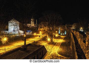 nightly castle in haapsalu city, estonia