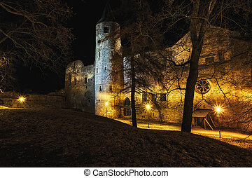 nightly castle tower