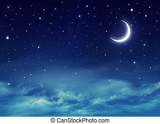 nightly, cielo, con, estrellas