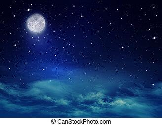 nightly, cielo, con, estrellas, y, luna