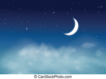 nightly, cielo, con, luna stelle