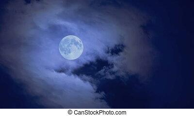nightly, en mouvement, ciel, nuageux, lune