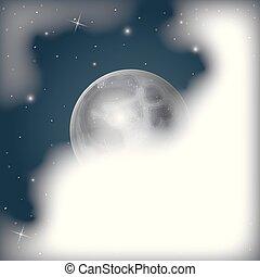 nightly, escena, plano de fondo, con, luna, vista, cubierto, por, nubes, y, cielo estrellado