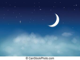 nightly, hemel, sterretjes, maan