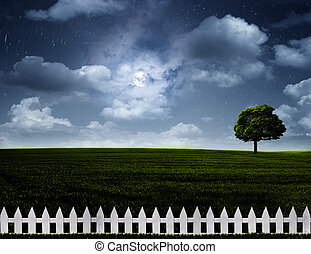 Nightly meadow. Natural summer backgrounds with alone tree on the hills under full moon