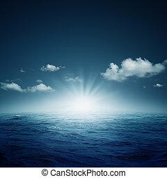 nightly, ocean., abstrakt, naturlig, bakgrunder