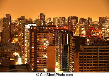 nightly, panorama, santiago, de, chile