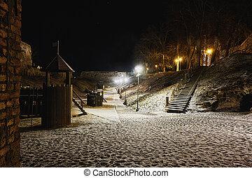 nightly playground in haapsalu castle, estonia