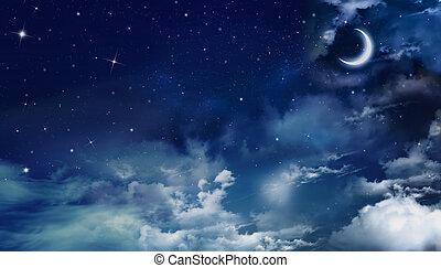 nightly, sky, bakgrund