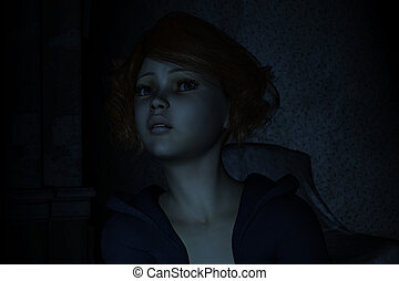 Nightmare - 3d illustration of young girl portrait being...
