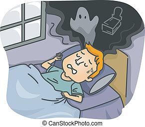 Nightmare - Illustration of a Man Having a Nightmare