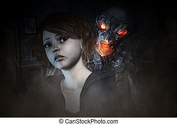 Nightmare creature - 3d illustration, Girl is being panic of...