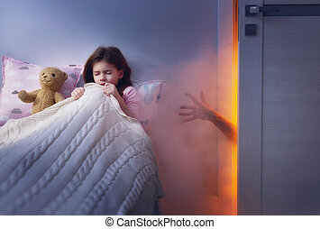 Nightmare for children. Little child girl is afraid of...