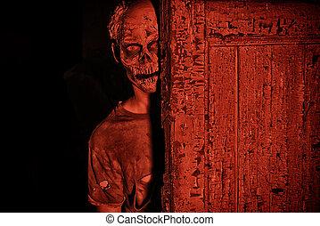 nightmare - Frightening bloody zombie man in blood-red light...