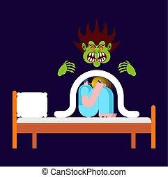 Nightmare Guy under blanket fears. Vector illustration