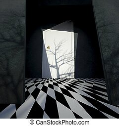 Nightmare interior in scary horror style, Halloween
