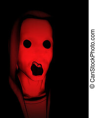 Nightmare Man - Concept image of a angry screaming face of a...