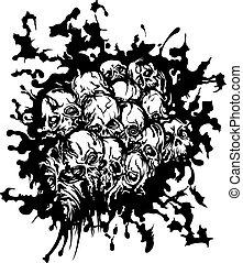 Nightmare skulls spot - Illustration a dirty spot with ...