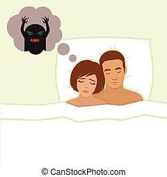 nightmare, vector cartoon illustration of person having bad...