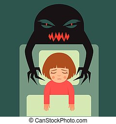 nightmare, vector cartoon illustration of person having bad...
